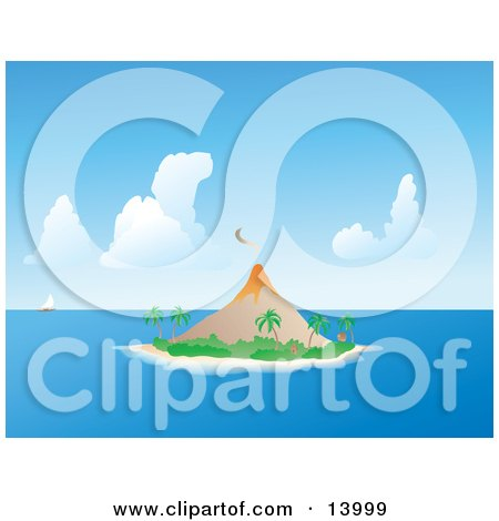 Sailboat on the Horizon Near an Erupting Volcano on a Tropical Island Clipart Illustration by Rasmussen Images