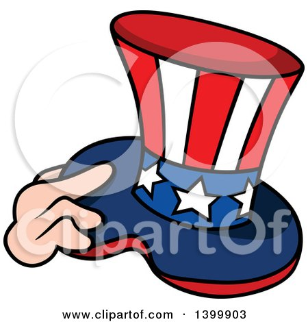 Clipart of a Cartoon Hand Holding a Patriotic American Top Hat like Uncle Sams - Royalty Free Vector Illustration by dero