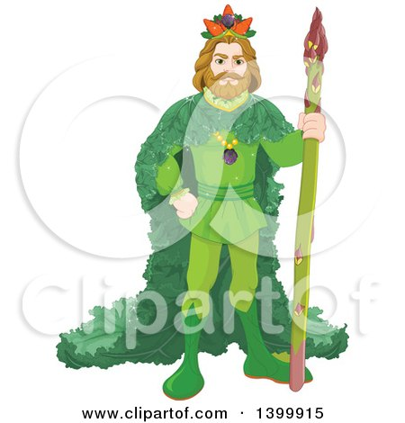Clipart of a Vegetable King Standing with an Asparagus Stalk - Royalty Free Vector Illustration by Pushkin