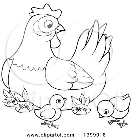 Clipart of a Black and White Lineart Mother Hen Chicken and Chicks - Royalty Free Vector Illustration by Pushkin