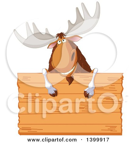 Clipart of a Happy Moose Smiling over a Blank Wood Sign - Royalty Free Vector Illustration by Pushkin