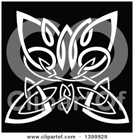 Clipart of a White Celtic Knot Butterfly on Black - Royalty Free Vector Illustration by Vector Tradition SM