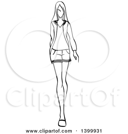 Clipart Of A Sketched Black And White Walking Runway Fashion Model