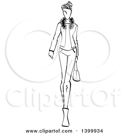 Clipart of a Sketched Black and White Walking Runway Fashion Model - Royalty Free Vector Illustration by Vector Tradition SM