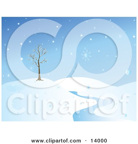 Wintry Snowflakes Falling Around a Bare Tree on a Hill Near a Creek Clipart Illustration by Rasmussen Images