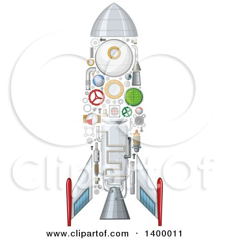 Clipart of a Rocket with Visible Mechanical Parts - Royalty Free Vector Illustration by Vector Tradition SM