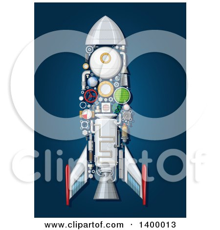Clipart of a Rocket with Visible Mechanical Parts on Blue - Royalty Free Vector Illustration by Vector Tradition SM
