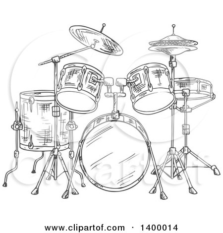Clipart of a Black and White Sketched Drum Set - Royalty Free Vector Illustration by Vector Tradition SM