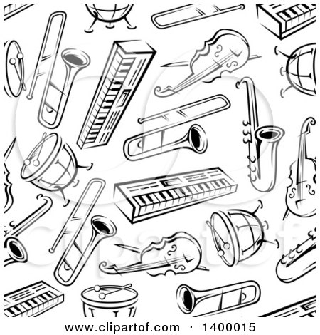 Clipart of a Seamless Background Pattern of Black and White Instruments - Royalty Free Vector Illustration by Vector Tradition SM