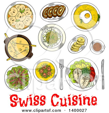 Clipart of a Sketched Meal of Swiss Cuisine Dishes - Royalty Free Vector Illustration by Vector Tradition SM
