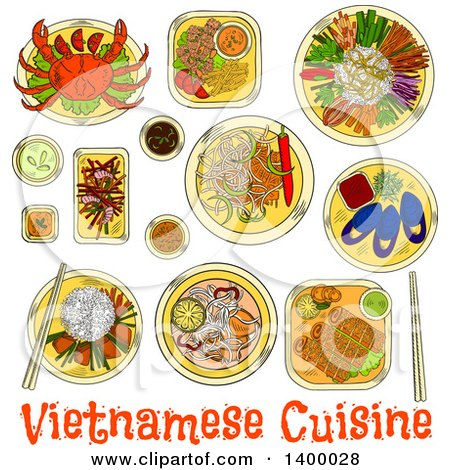 Clipart of a Sketched Meal of Vietnamese Cuisine Dishes - Royalty Free Vector Illustration by Vector Tradition SM