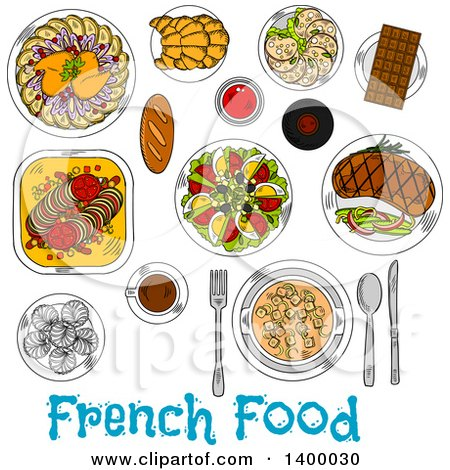 royalty free rf french cuisine clipart illustrations vector rh clipartof com Croissant Clip Art cartoon french food clipart