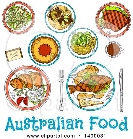Clipart of a Sketched Meal of Austuralian Cuisine Dishes - Royalty Free Vector Illustration by Vector Tradition SM