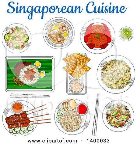 Clipart of Sketched Singaporean Cuisine with Chilli Crab, Fried Rice, Beef Satay, Flatbread, Tartar Sauce, Spicy Shrimp Soup, Fried Noodles, Chicken Liver with Rice and Vegetable Salad with Smoked Salmon - Royalty Free Vector Illustration by Vector Tradition SM