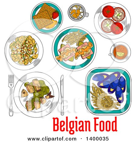 Clipart of a Sketched Meal of Belgian Cuisine Dishes - Royalty Free Vector Illustration by Vector Tradition SM