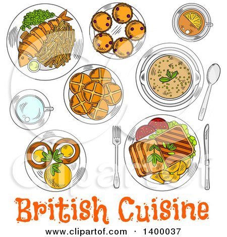 Clipart of a Sketched Meal of British Cuisine Dishes - Royalty Free Vector Illustration by Vector Tradition SM