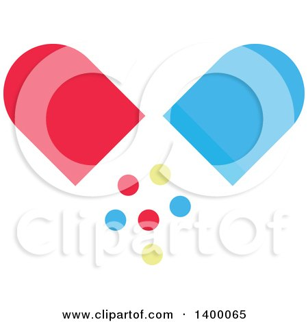 Clipart Of A Flat Design Pill Capsule And Falling Circles Royalty Free Vector Illustration
