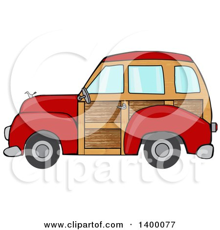 Clipart of a Red Woodie Station Wagon Car - Royalty Free Vector Illustration by djart