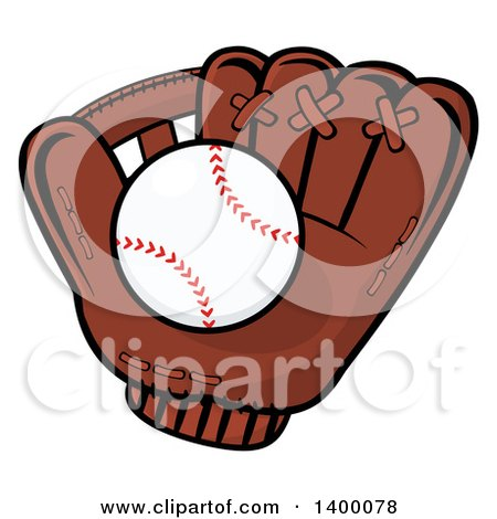Clipart of a Baseball in a Glove - Royalty Free Vector Illustration by Hit Toon