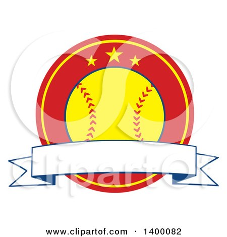 Clipart of a Blank Ribbon Banner over a Softball in a Red Circle with Stars - Royalty Free Vector Illustration by Hit Toon