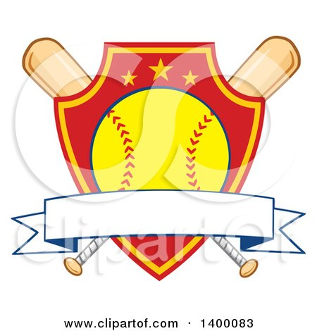 Clipart of a Blank Ribbon Banner over a Softball in a Shield and Crossed Baseball Bats - Royalty Free Vector Illustration by Hit Toon