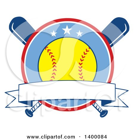Clipart of a Blank Ribbon Banner and Softball in a Circle over Crossed Baseball Bats - Royalty Free Vector Illustration by Hit Toon