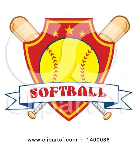 Clipart of a Text Ribbon Banner over a Softball in a Shield and Crossed Baseball Bats - Royalty Free Vector Illustration by Hit Toon