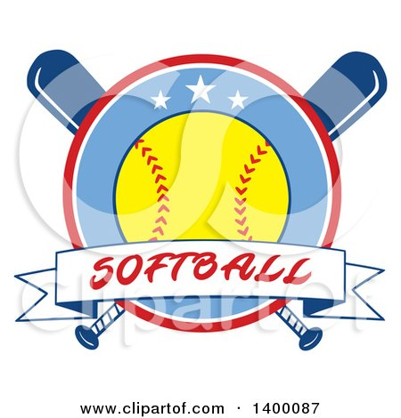 Clipart of a Text Ribbon Banner and Softball in a Circle over Crossed Baseball Bats - Royalty Free Vector Illustration by Hit Toon