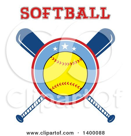 Clipart of a Softball in a Circle over Crossed Baseball Bats, Under Text - Royalty Free Vector Illustration by Hit Toon