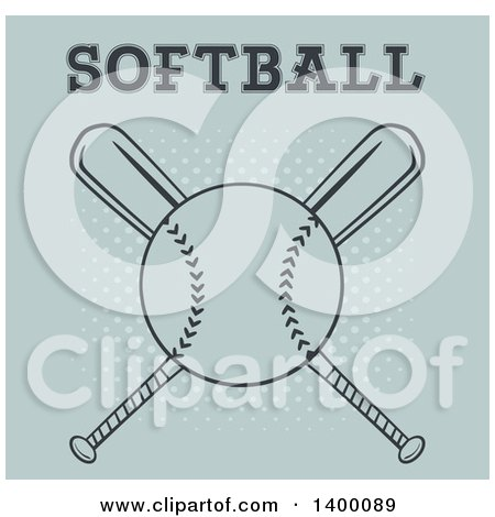 Clipart of a Softball over Crossed Baseball Bats with Text on Halftone - Royalty Free Vector Illustration by Hit Toon
