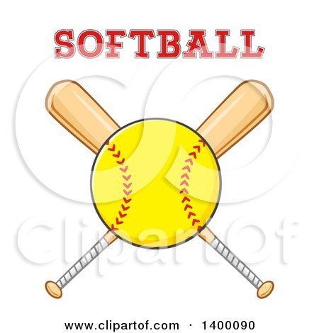 Clipart of a Softball over Crossed Baseball Bats with Text - Royalty Free Vector Illustration by Hit Toon