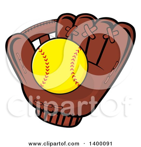 Clipart of a Softball in a Glove - Royalty Free Vector Illustration by Hit Toon