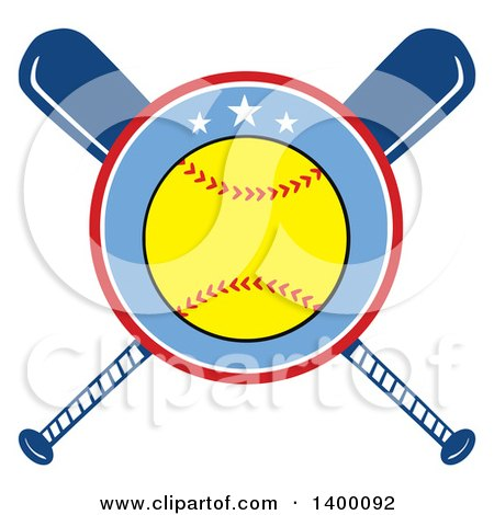 Clipart of a Softball in a Circle over Crossed Baseball Bats - Royalty Free Vector Illustration by Hit Toon