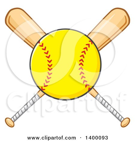 Clipart of a Softball over Crossed Baseball Bats - Royalty Free Vector Illustration by Hit Toon