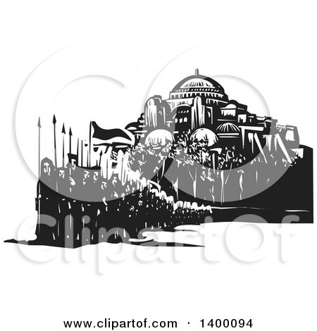 Clipart of a Black and White Woodcut Group of Marching People with Spears and Flags in Front of a Mosque - Royalty Free Vector Illustration by xunantunich