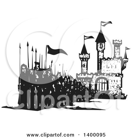 Clipart of a Black and White Woodcut Group of Marching People with Spears and Flags in Front of a Castle - Royalty Free Vector Illustration by xunantunich