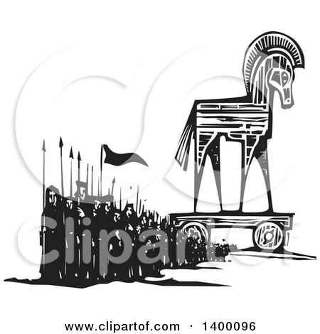 Clipart of a Black and White Woodcut Group of Marching People with Spears and Flags by a Trojan Horse - Royalty Free Vector Illustration by xunantunich
