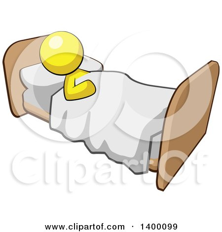 Clipart of a Cartoon Yellow Man Sleeping in a Bed - Royalty Free Vector Illustration by Leo Blanchette