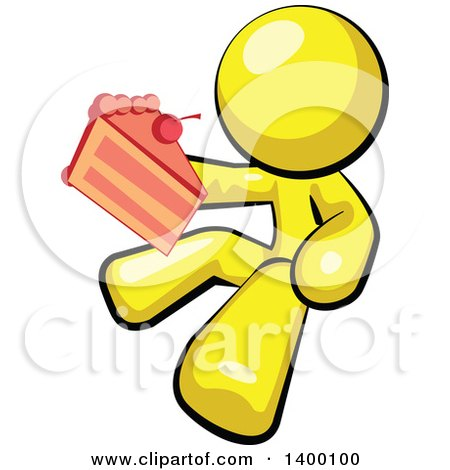 Clipart of a Cartoon Yellow Man Holding a Piece of Cake - Royalty Free Vector Illustration by Leo Blanchette
