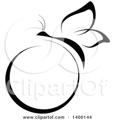 Clipart of a Black and White Butterfly and Circle Label - Royalty Free Vector Illustration by dero
