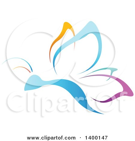 Clipart of a Gradient Colorful Butterfly - Royalty Free Vector Illustration by dero