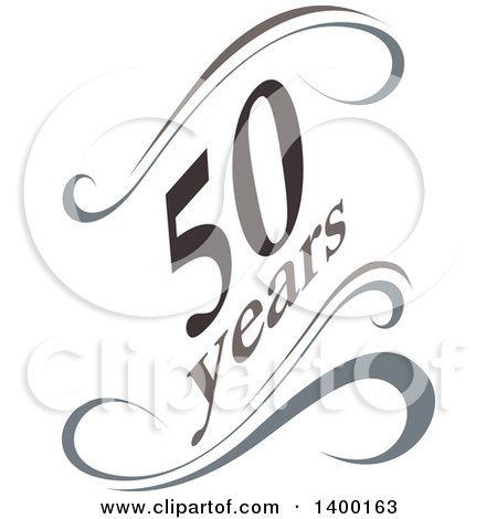 Clipart of a 50 Years Calligraphic Design Element - Royalty Free Vector Illustration by dero