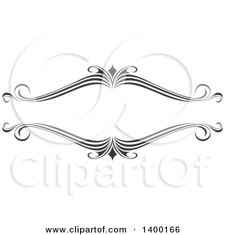 Clipart of a Black and White Ornate Calligraphic Frame Design Element - Royalty Free Vector Illustration by dero