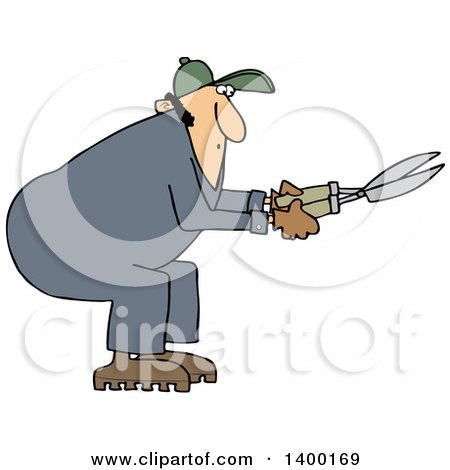 Cartoon Clipart of a Chubby Caucasian Male Landscaper or Gardener Using Hedge Trimmers - Royalty Free Vector Illustration by djart