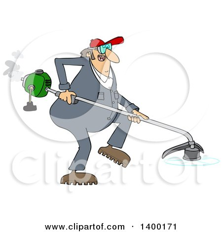 Cartoon Clipart of a Chubby White Male Landscaper or Gardener Using a Weed Wacker - Royalty Free Vector Illustration by Dennis Cox