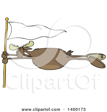 Cartoon Clipart of a Moose Holding onto a White Flag Post in a Wind Storm - Royalty Free Vector Illustration by djart
