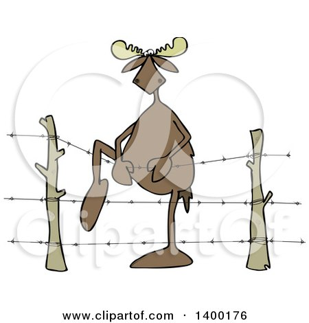 Cartoon Clipart of a Moose Climbing over Barbed Wire - Royalty Free Vector Illustration by djart