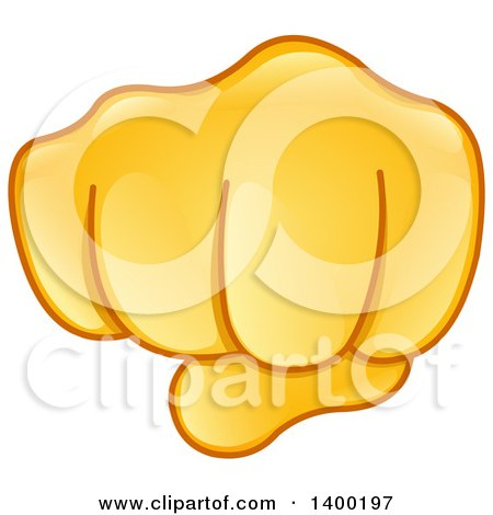 Clipart of a Gold Smiley Emoji Hand in a Fist - Royalty ...
