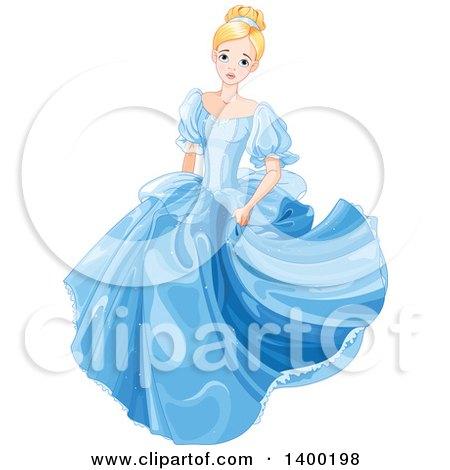 Worried Blond Caucasian Princess, Cinderella, in a Blue Dress Posters, Art Prints