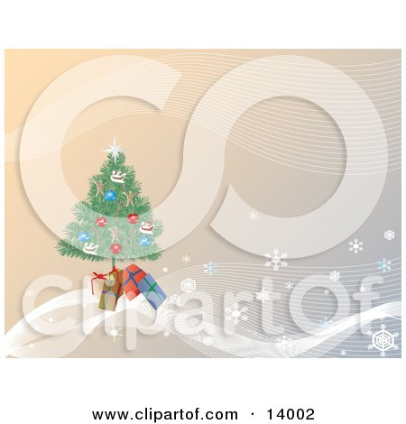 Gifts Tucked Under a Christmas Tree on a Gradient Background of Snowflakes Clipart Illustration by Rasmussen Images